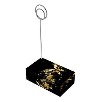 golden earth planet table card holder