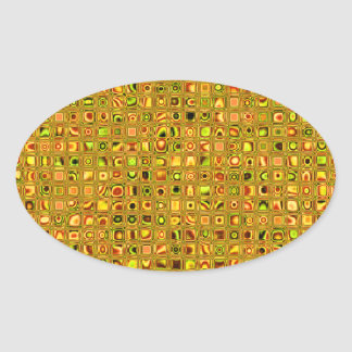 Golden Earth Tones Textured Mosaic Tiles Pattern Oval Stickers