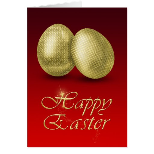 Golden Easter Eggs - Greeting Card