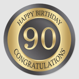 Golden effect 90th Birthday Round Sticker