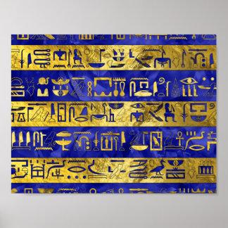 Golden Egyptian  hieroglyphs pattern Poster
