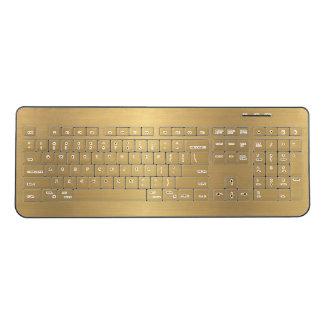 Golden Elegant Modern Minimalistic Shiny Gold Wireless Keyboard