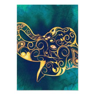 Golden elephant 13 cm x 18 cm invitation card