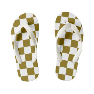Golden Elm Checkerboard Patterned Kid's Thongs