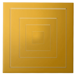 Golden Embossed Squares pattern Artistic Graphic Large Square Tile