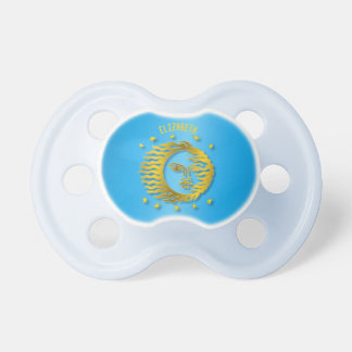 Golden Embossed Sun With Stars And Shadows Baby Pacifiers