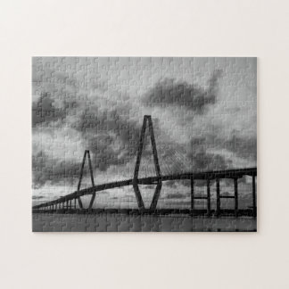 Golden Evening At Arthur Ravenel Grayscale Jigsaw Puzzle