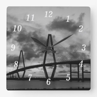 Golden Evening At Arthur Ravenel Grayscale Square Wall Clock