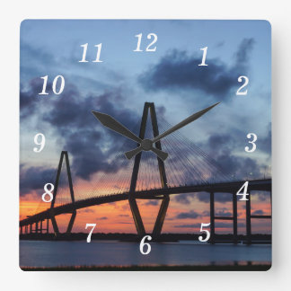 Golden Evening At Arthur Ravenel Square Wall Clock