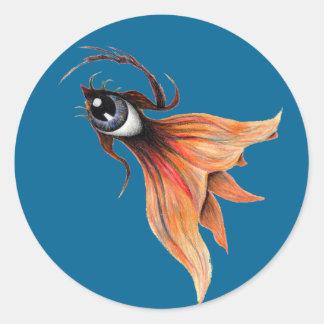 Golden Eye Surreal Goldfish Fantasy Art Any Color Round Sticker
