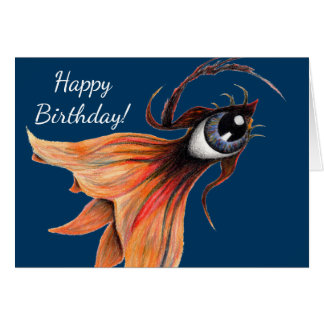 Golden Eye Surreal Goldfish Fantasy Art Birthday Card