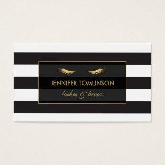 Golden Eyelashes with Black and White Stripes