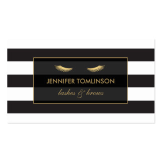 Golden Eyelashes with Black and White Stripes Pack Of Standard Business Cards