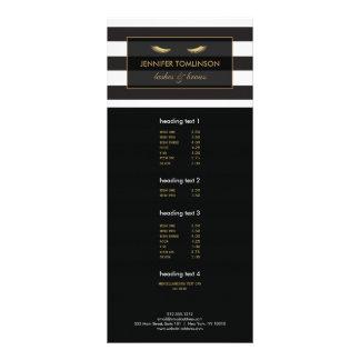 Golden Eyelashes with Black and White Stripes Rack Card