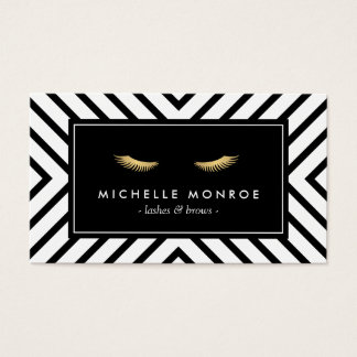 Golden Eyelashes with Mod Black and White Pattern