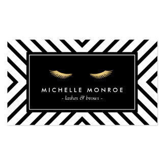 Golden Eyelashes with Mod Black and White Pattern Pack Of Standard Business Cards