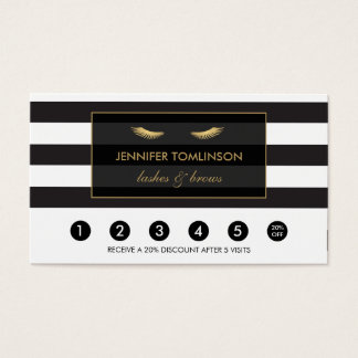 Golden Eyelashes with Stripes Loyalty Card