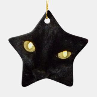 Golden eyes ceramic star decoration
