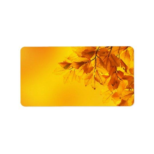 Golden Fall Leaves Background Address Label