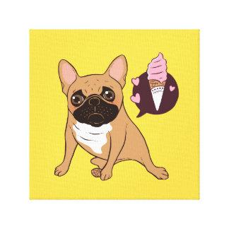Golden Fawn French Bulldog wants an ice cream Canvas Print