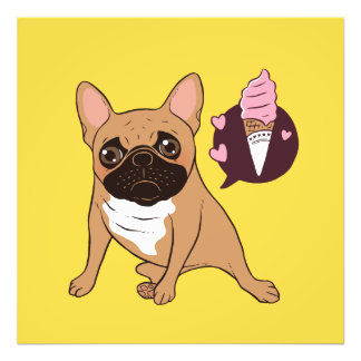 Golden Fawn French Bulldog wants an ice cream Photo Print