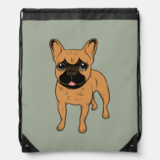 Golden Fawn Frenchie Drawstring Bag