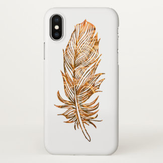 Golden Feather Art Custom iPhone X Glossy Case