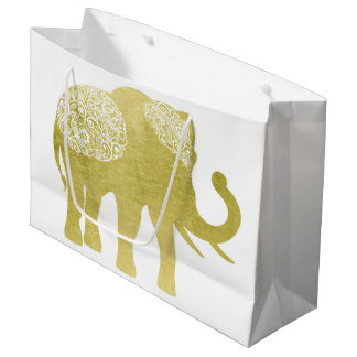 Golden Filigree Elephant Large Gift Bag