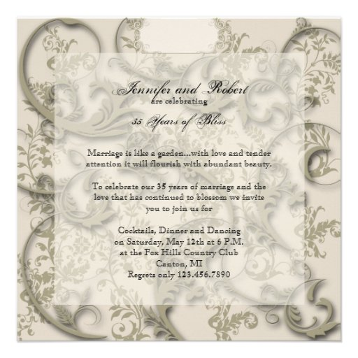 Golden Filigree Style Anniversary Invites