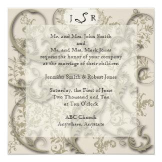 Golden Filigree Wedding Invitation
