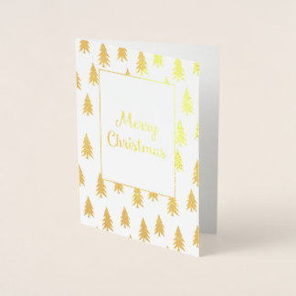 Golden Fir Trees Elegant Foil Christmas Card
