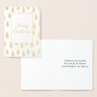 Golden Fir Trees Foil Christmas Card