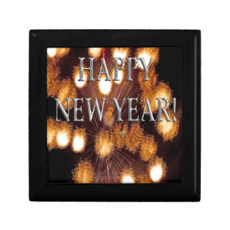 golden fireworks new year's small square gift box