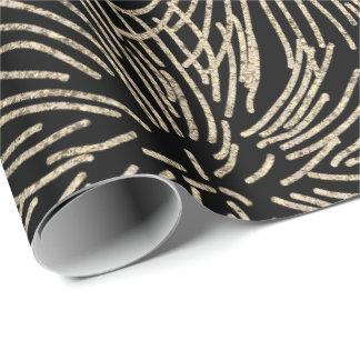 Golden Fireworks Stripes Metallic Glitter Bla Wrapping Paper