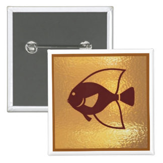Golden Fish Marinelife Sea - Medal Icon Gold Base Pinback Button