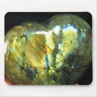 Golden Flash Labradorite Heart Mousepad