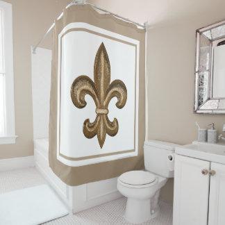 Golden Fleur de Lis Custom Shower Curtain