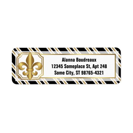 Golden Fleur-de-Lis on Black White Gold Stripes Return Address Label