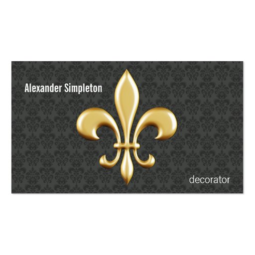 Golden Fleur De Lis on Damask Business Card Templates