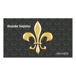 Golden Fleur De Lis on Damask Pack Of Standard Business Cards