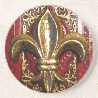 Golden Fleur de lis on red print Coaster