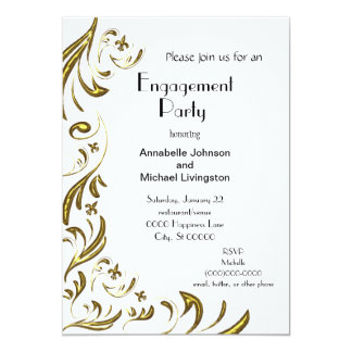 Golden Fleur de Lis Vine Engagement Party on White Card