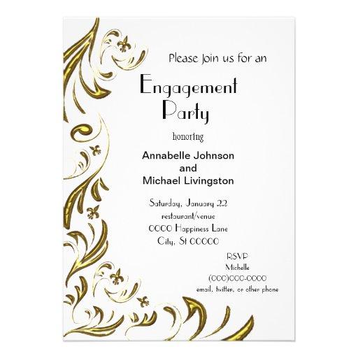 Golden Fleur de Lis Vine Engagement Party on White Personalized Invites