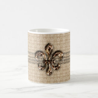 Golden Fleur De Lis with Cream Damask Pattern Basic White Mug