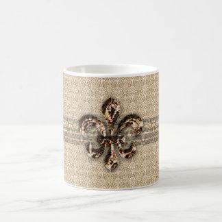 Golden Fleur De Lis with Cream Damask Pattern Coffee Mugs