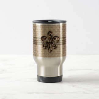 Golden Fleur De Lis with Cream Damask Pattern Stainless Steel Travel Mug