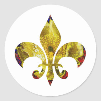 Golden Fleur-de-Lis  ;   ZazzleRocks Series Classic Round Sticker