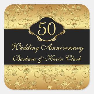 Golden floral 50th Wedding Anniversary Sticker
