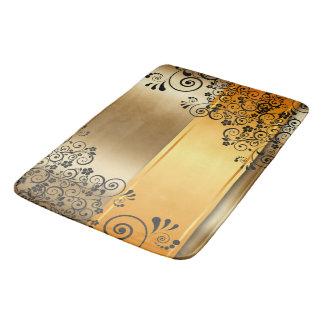 Golden floral bath mat