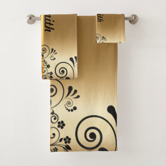 Golden floral bath towel set